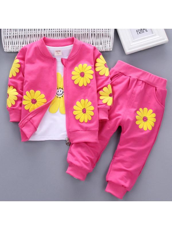 【12M-4Y】Floral Print Sweatshirt Jacket Pants Three-Piece Set