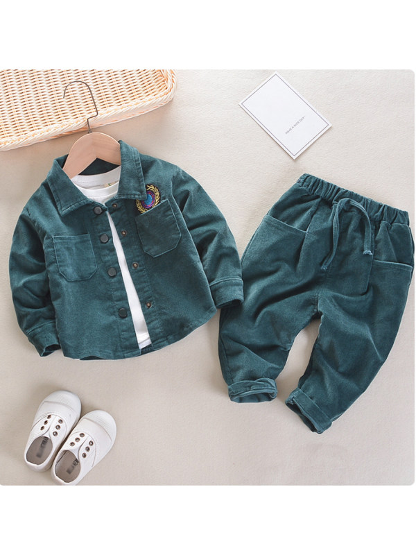【12M-7Y】Kids Pure Color Corduroy Shirt And Pants Set