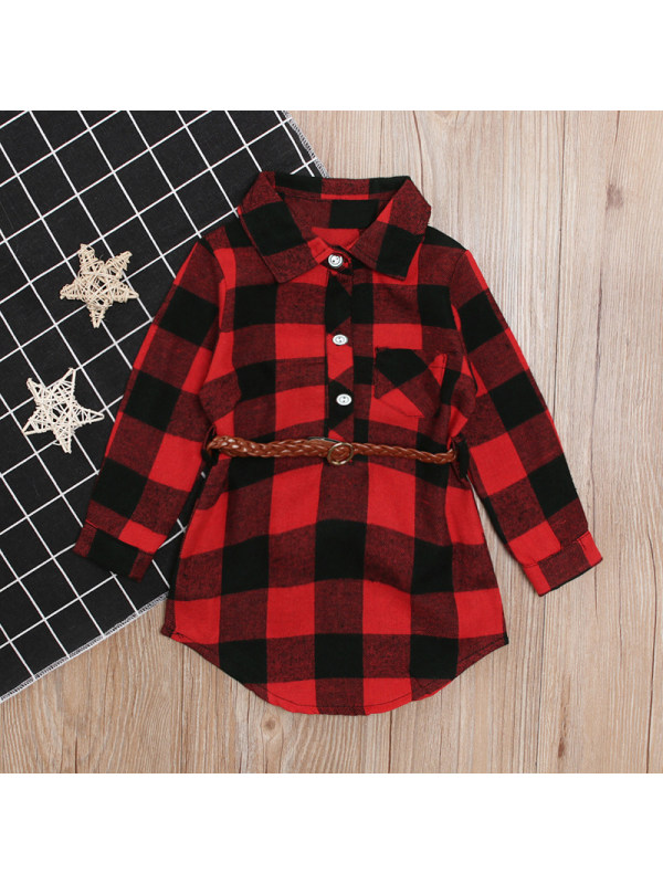 【12M-5Y】Girl Red Plaid Shirt Dress With Belt