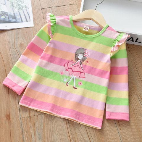 Cute Cartoon Print Rainbow Striped Long Sleeve T shirt