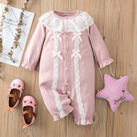 Baby Girl Lace Lapel Pink Knit Long Sleeve Romper