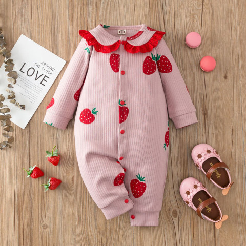 Baby Girl Lace Lapel Strawberry Print Pink Knit Long Sleeve Romper
