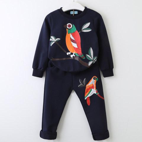 Girl bird print sweatshirt pants suit