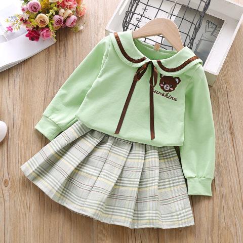 Girl bear embroidered sweatshirt pleated skirt suit