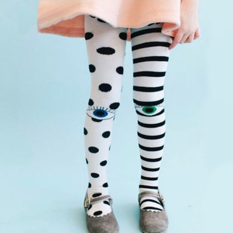Cute Cartoon Embroidered Gray Childrens Pantyhose