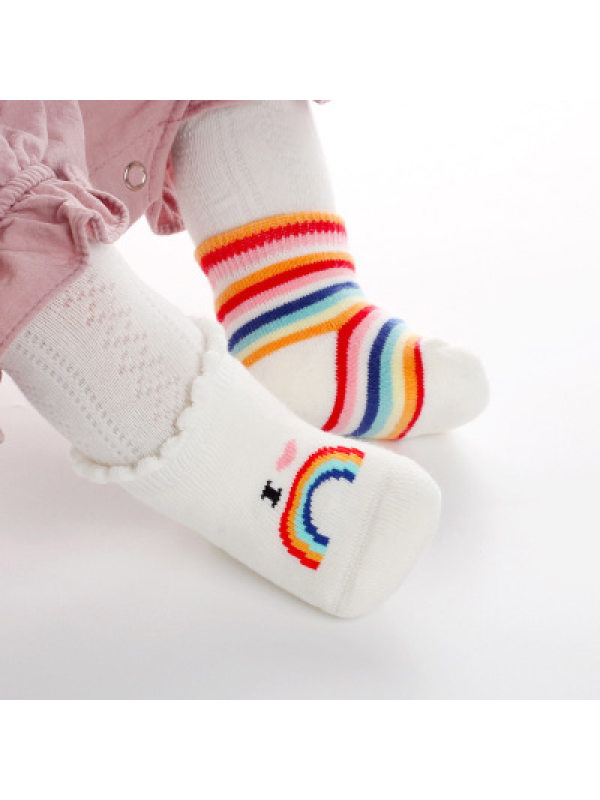 【7M-11M】Rainbow And Letter Baby Socks