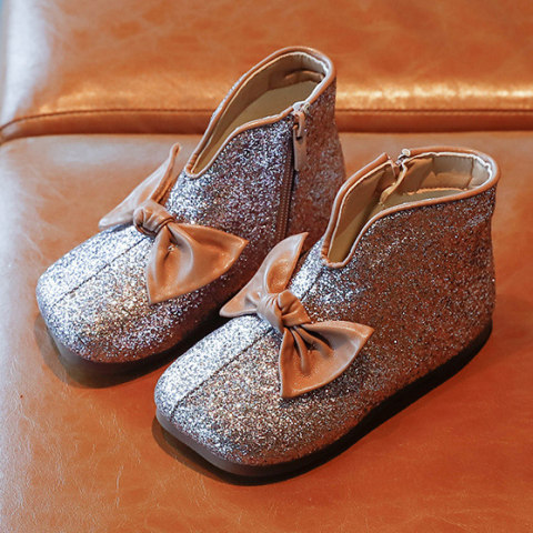 Cute Bow Sequined Short Boots