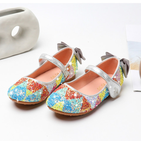 Girl Cute Color Sequin Flat Princess Shoes