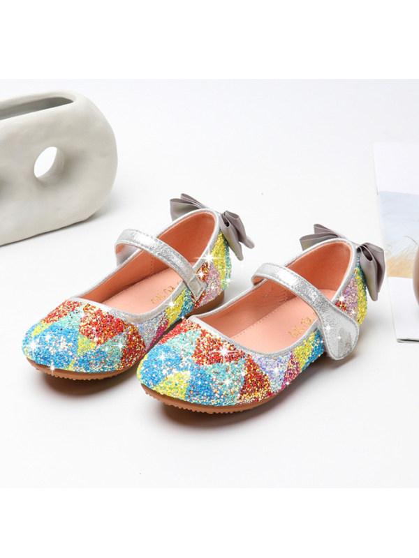 Girl Cute Color Sequin Flat Princess Shoes