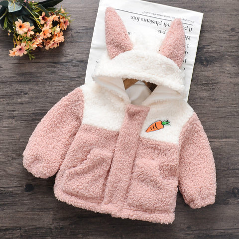Girl carrot embroidered rabbit ear plush coat