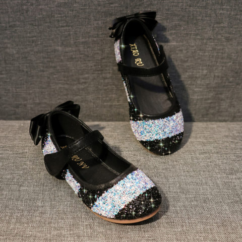 Girl Cute Rainbow Color Sequin Flat Princess Shoes