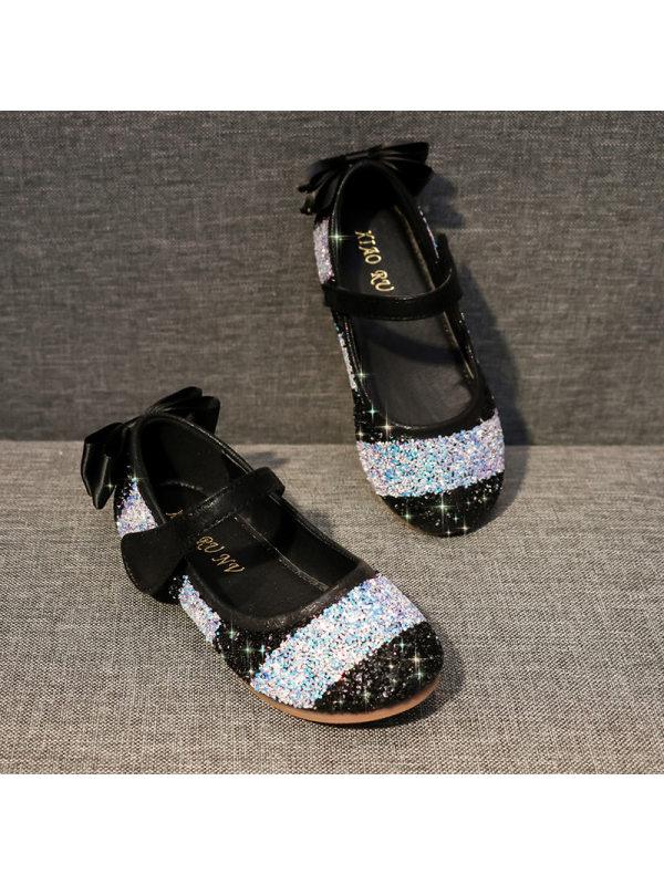 Girl Cute Rainbow Color Sequin Flat Princess Shoes