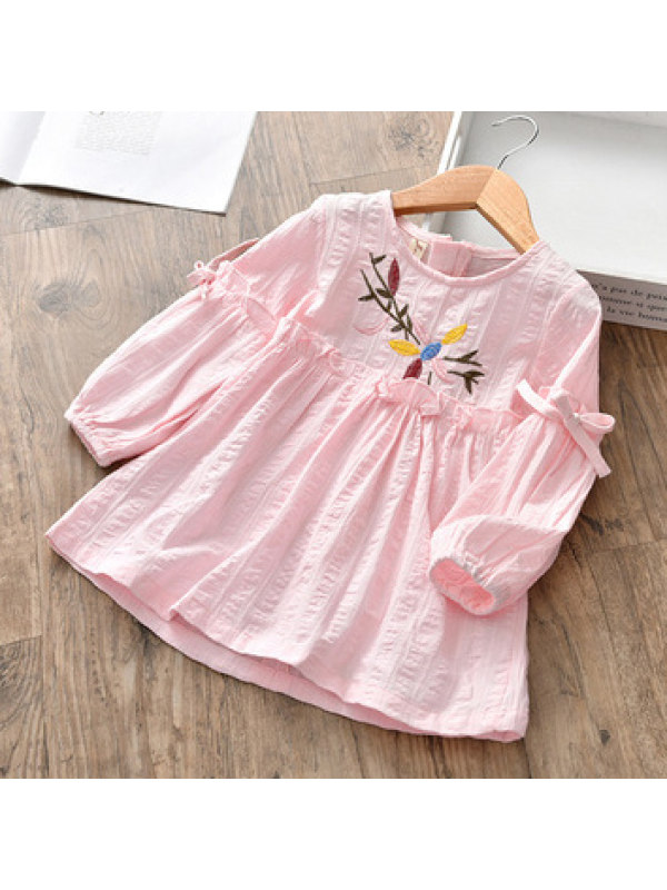 【2Y-9Y】Girls Flowers Embroidered Long Sleeve Dress