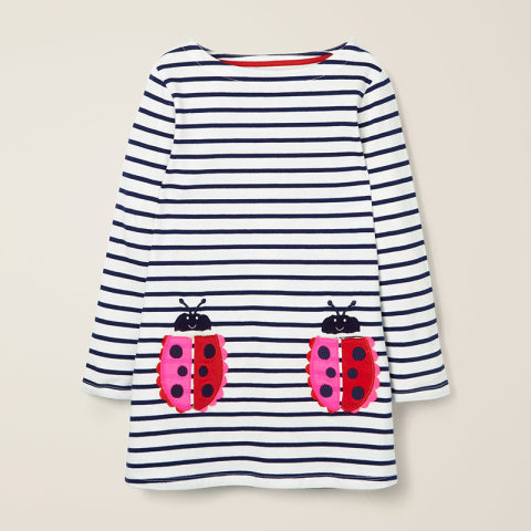 Cute Animal Embroidered Striped Long Sleeved Knitted Dress