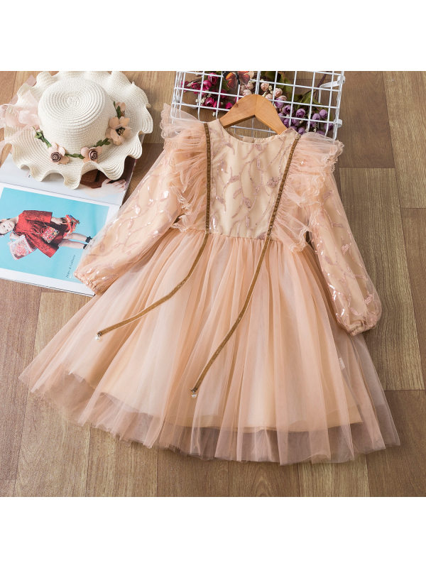 【2Y-9Y】Sequin Embroidered Red Long Sleeved Mesh Princess Dress
