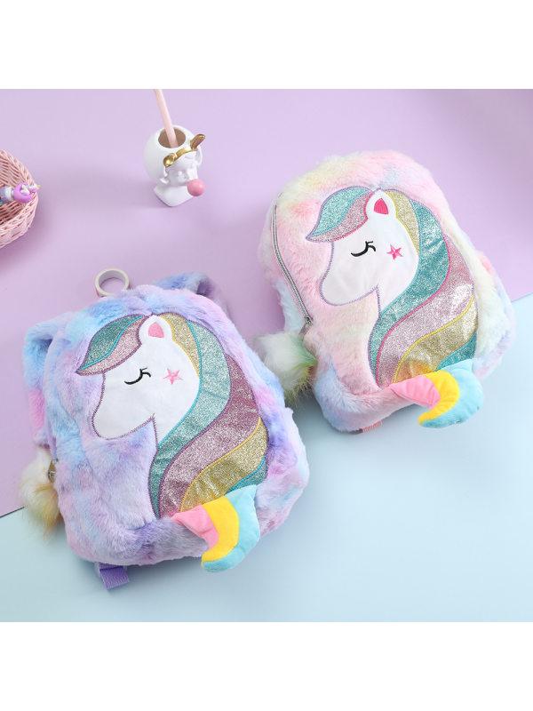Cute Colorful Unicorn Embroidered Plush Bag