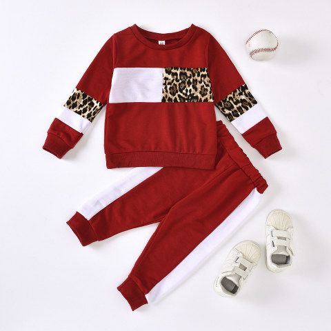 Girl Autumn Long Sleeved Red Sweater Set