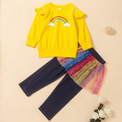 Autumn Rainbow Print Long Sleeve Sweatshirt And Polka Dot Mesh Culottes Set