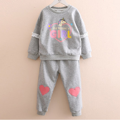 Autumn Cartoon Print Long Sleeved Sweater And Trousers Set