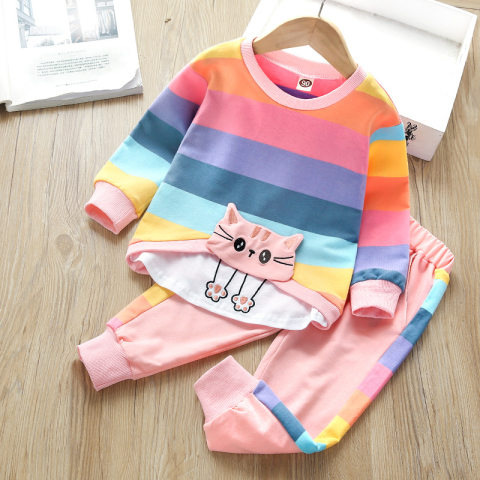 Cat Embroidery Colorful Striped Sweater And Trousers Set
