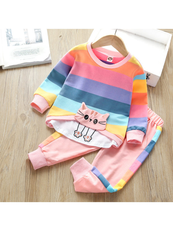 【18M-7Y】Cat Embroidery Colorful Striped Sweater And Trousers Set
