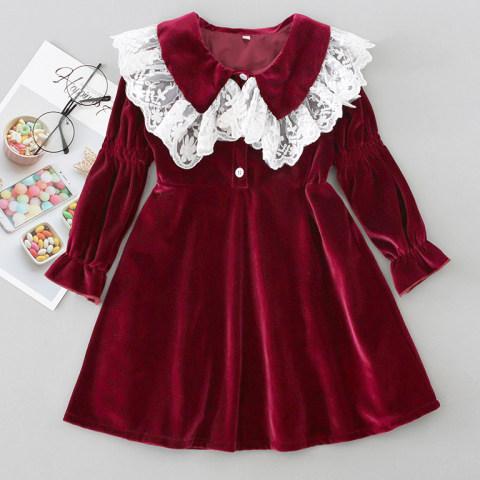 Autumn Red Velvet Lace Lapel Long Sleeve Dress