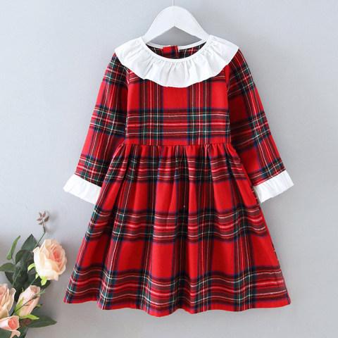Autumn Red Plaid Lapel Long Sleeve Dress