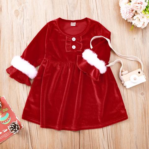 Christmas Red Velvet Round Neck Long Sleeve Dress