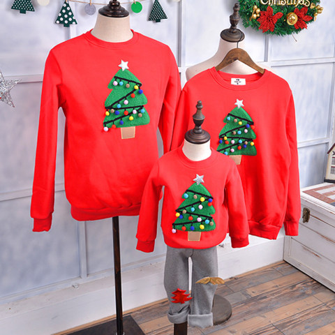 Christmas tree embroidery sweater family matching outfits