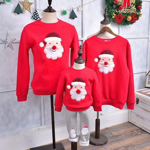 Christmas embroidery sweater family matching suit