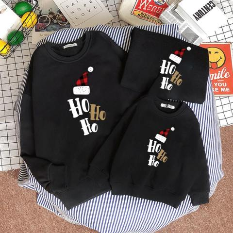 Christmas Letters And Hat Print Round Neck Long Sleeve Sweater Family Outfit