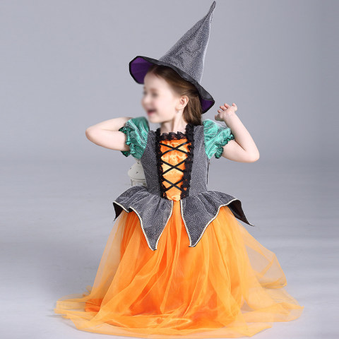 Girl Halloween Short Sleeve Princess Dress With Witch Hat