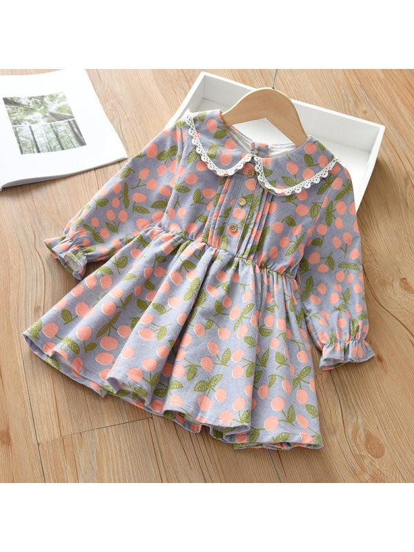 【18M-7Y】Orange Cherry Print Lapel Long Sleeve Blue Dress