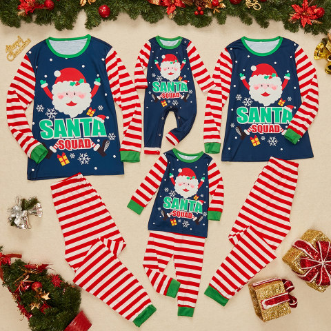 Christmas cartoon print navy blue family matching outfits