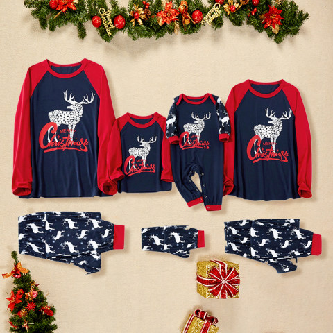Christmas Elk Blue Printed Family Matching Outfits