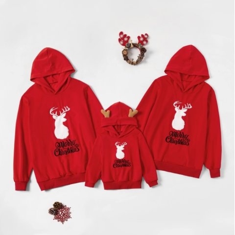 Christmas Elk Print Red Hooded Sweater Family Matching Clothes