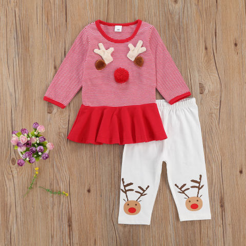 Baby girl Christmas red elk pattern T shirt pants suit