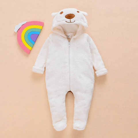 Baby white bear plush jumpsuit