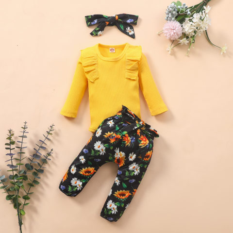 Baby girl floral print romper and pants suit with headband