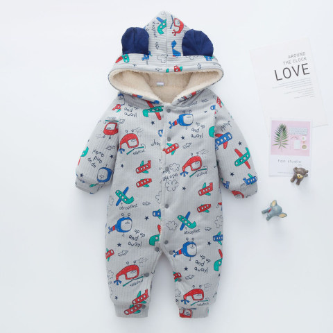 Baby winter plush warm hooded jumpsuit