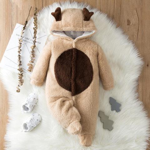 Baby fallwinter flannel hooded jumpsuit