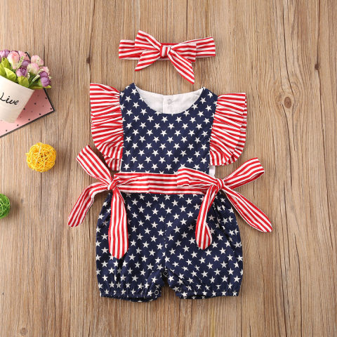 Baby Girl Independence Day Romper With hair band