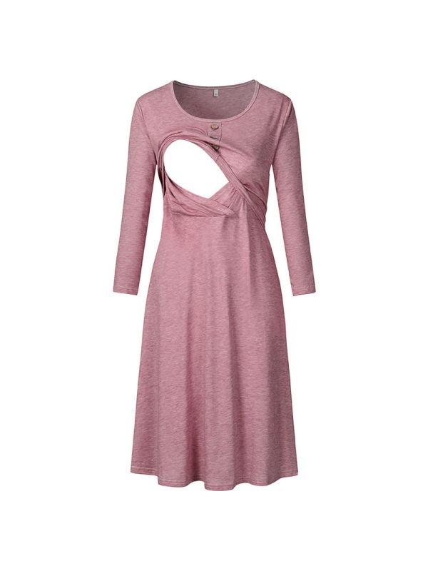 Maternity Round Neck Long Sleeve Nursing Dress