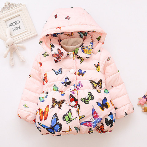 Butterfly print hooded cotton jacket