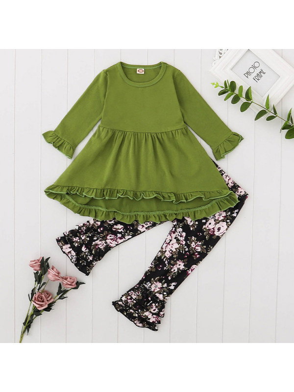 【6M-3Y】Solid color ruffled T-shirt and floral pants set