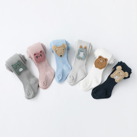 Childrens bear combed cotton pantyhose