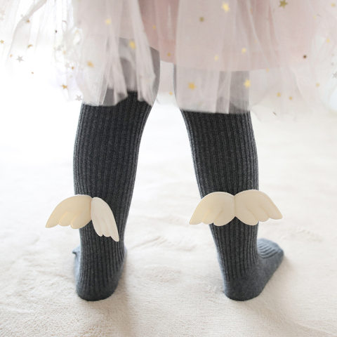Childrens angel wings combed cotton pantyhose