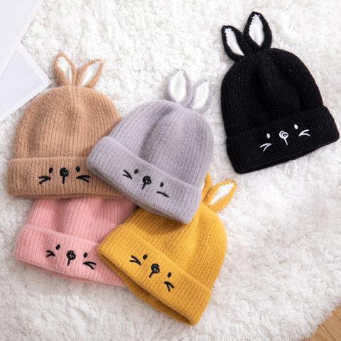 Childrens embroidery rabbit woolen hat