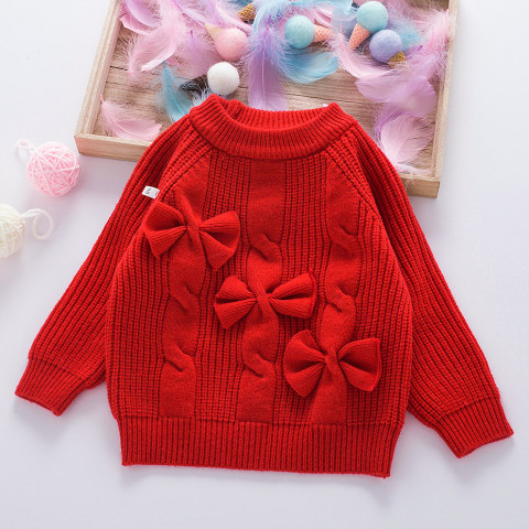 Bow high neck long sleeve sweater