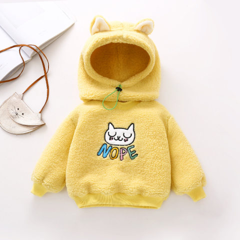Cartoon embroidery plush sweater with hat
